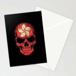 Dark Skull with Flag of Hong Kong Stationery Cards
