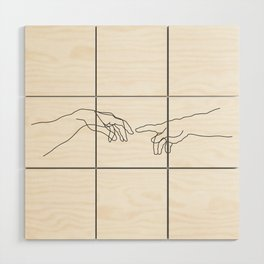 Creation of Adam Minimal Drawing Wood Wall Art