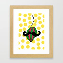 Moustache Bauble Framed Art Print