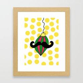 Moustache Bauble Framed Art Print