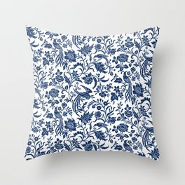 Indigo Botanical Pattern 2 Throw Pillow