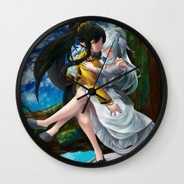 Yin and Yang Lilies Wall Clock