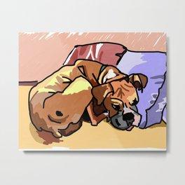 Whimsical Boxer Dog Illustration Metal Print