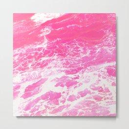 Pink Ocean Waves Metal Print