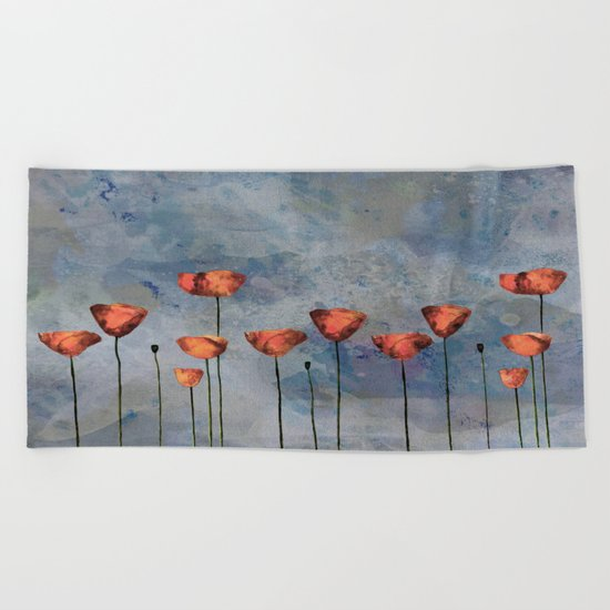 Poppyfield against the blue sky- abstract watercolor artwork Beach Towel