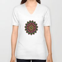 stained glass V-neck T-shirts featuring Stained Glass by Designs By Misty Blue (Misty Lemons)