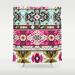 Fancy abstract geometric pattern in tribal style Shower Curtain