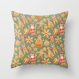 Gingerbread Christmas Pattern (Color) Throw Pillow
