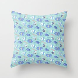 Teal Reef Tropical Fish Throw Pillow