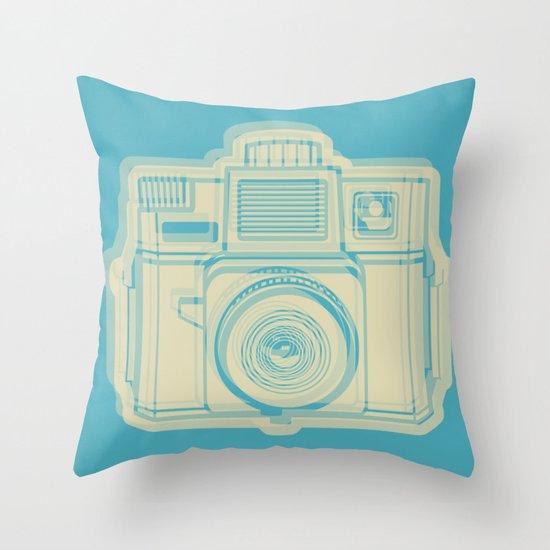 I Still Shoot Film Holga Logo - Turquoise/Tan Throw Pillow