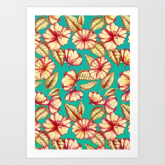 Retro style Rust & Teal Hand drawn Floral Pattern Art Print