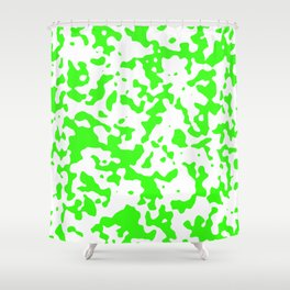 Spots - White and Neon Green Shower Curtain