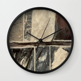 Textured Marble Popular Painterly Abstract Pattern - Black White Gray Red Wall Clock