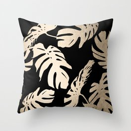 Simply Palm Leaves in White Gold Sands on Midnight Black Throw Pillow