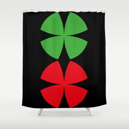 Two Four-Leaf-Clovers, one red, one green, meeting at a Party in a Black Background Shower Curtain