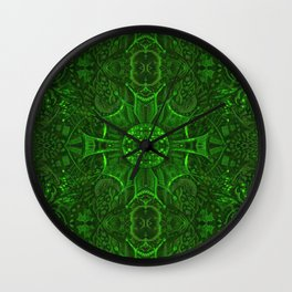 Butterfly Forest Bohemian Arabesque Pattern Emerald Wall Clock