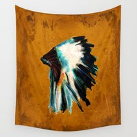 headdress Wall Tapestries featuring Native Headdress by James Peart