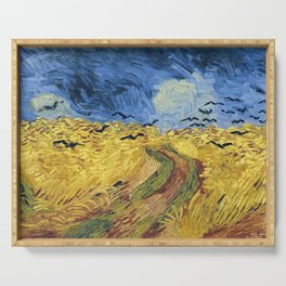 Wheatfield with Crows by Vincent van Gogh Serving Tray