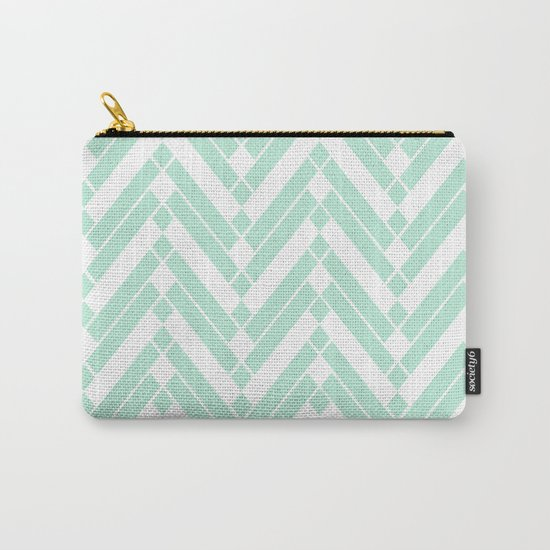 Chevron Herringbone ZigZag pattern - light mint green #Society6 Carry-All Pouch