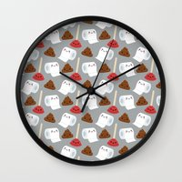 toilet Wall Clocks featuring Toilet pattern by Irmirx