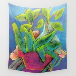 Misty Potted Plant Wall Tapestry