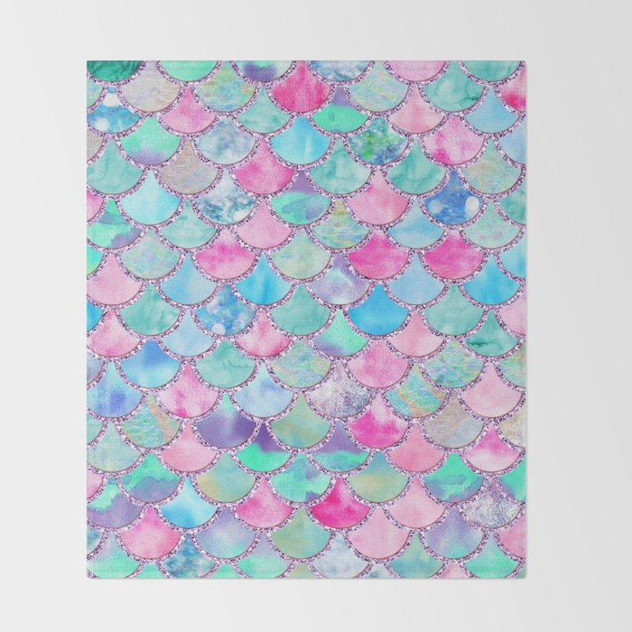 Colorful Pink And Blue Watercolor Trendy Glitter Mermaid Scales Amazing Colorful Throw Blankets