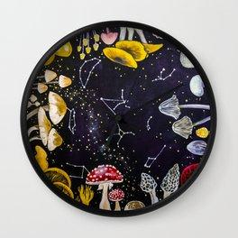 Mushrooms and Stars Wall Clock