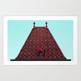 magic roof in Budapest (red) Art Print