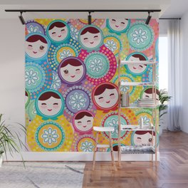 Russian dolls matryoshka, pink blue green colors colorful bright pattern Wall Mural