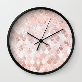Mermaid Scales Pattern, Blush Pink and Rose Gold Wall Clock