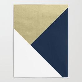 Gold meets Navy Blue & White Geometric #1 #minimal #decor #art #society6 Poster