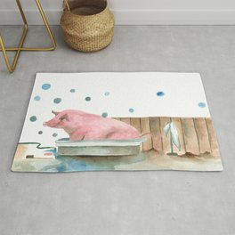 Pig bubble bath time Rug