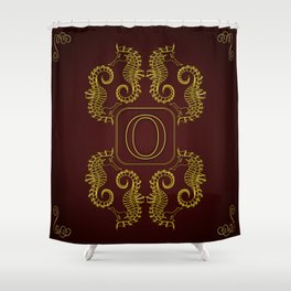 Letter O seahorse monogram Shower Curtain