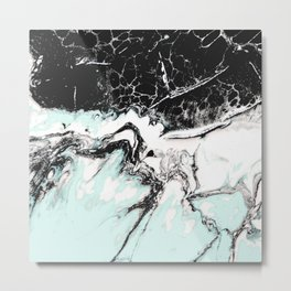 mint black and white marble Metal Print