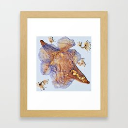 Blue Flowers with 22 kt Gold Framed Art Print