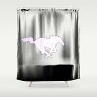 mustang Shower Curtains featuring Mustang  by Kristen Sea Illustrations/ ¥éttèr Pho