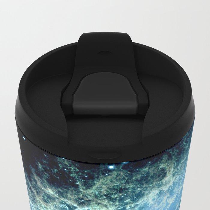Crab Nebula : Aqua Teal Blue Galaxy Metal Travel Mug