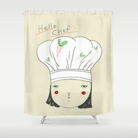 chef Shower Curtains featuring hello chef by Hello Sunwoo