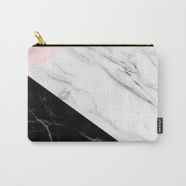 pink black and white geometric marble Carry-All Pouch
