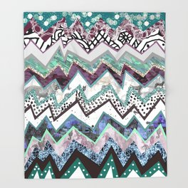 Cool Blues Zigzags Abstract Throw Blanket