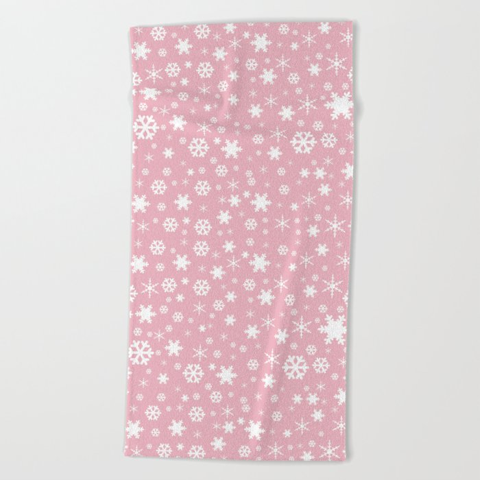 White & blush pink snowflake pattern Beach Towel
