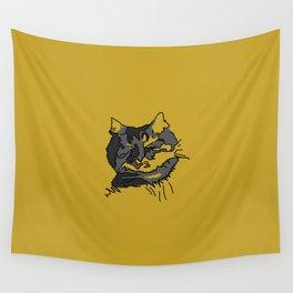 Mustard Sleeping Cat Wall Tapestry