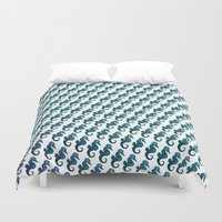 sea horse Duvet Covers featuring Sea Horse Pattern by Eleaxart