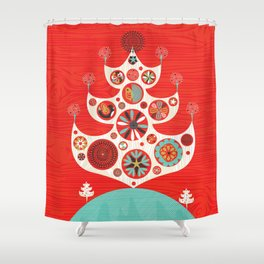 Festive Yule Christmas Tree Shower Curtain