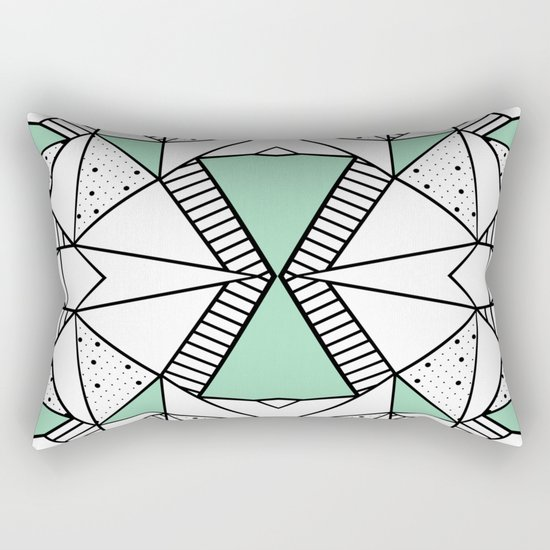 Ab Lines and Spots Mint Rectangular Pillow