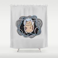 space cat Shower Curtains featuring Space Cat by alliedrawsthings