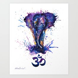 Watercolor Elephant Om Yoga Splatters Art Print