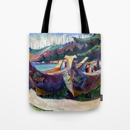 Emily Carr First Nations War Canoes in Alert Bay Tote Bag