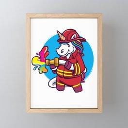 Mythical Creature Unicorn Colourful Fireman For Little Guy Framed Mini Art Print