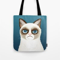 grumpy Tote Bags featuring Grumpy by StudioMarimo